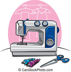 máquina, cosendo