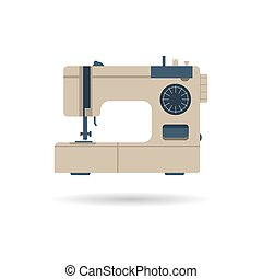 máquina, cosendo, isolado