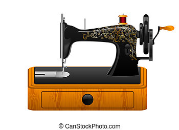 máquina, cosendo, retro