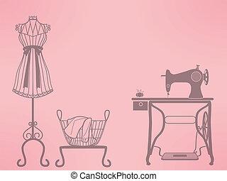 máquina, costura, maniquí