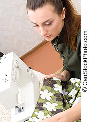 máquina, costura, mano