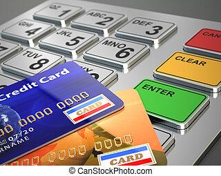 máquina, credito, atm, telclado numérico, tarjetas.