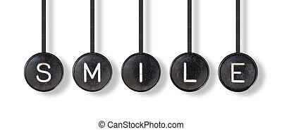 máquina de escribir, botones, aislado, -, sonrisa