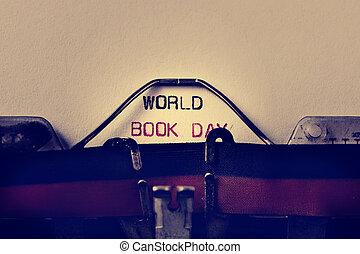 máquina de escribir, y, texto, mundo, libro, día