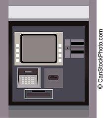 máquina, dinero, atm, retirarse