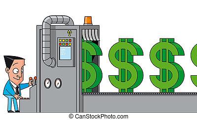máquina, dinero, elaboración
