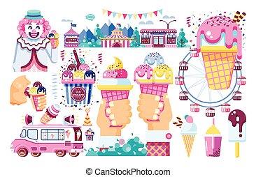 máquina, doce, café, divertimento, creme, estilo, isolado, gelo, branca, apartamento, vender, negócio, alimento, parque, ilustração, chocolate, fruta, fundo, baunilha, venda, palhaço, enchimento, vetorial, rodas, refeição, estrada