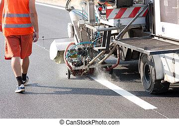 máquina, durante, marcação, roadworks