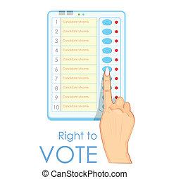 máquina, electrónico, votación, planchado, mano