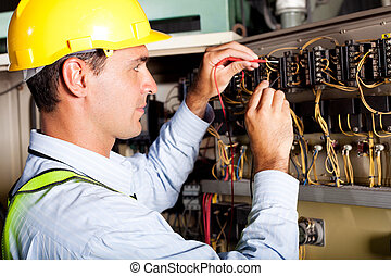 máquina, eletricista, industrial, macho, testar