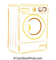 máquina, eletrodomésticos lar, lavando, lavanderia