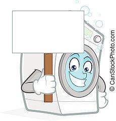 máquina, em branco, lavando, segurando, sinal