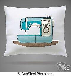 máquina, esboço, cosendo, desenho, retro, seu