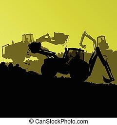 máquina, escavador, hidráulico, carregador