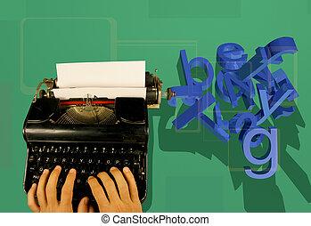 máquina escrever, letras, 3d