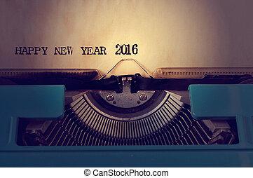 máquina escrever, texto, feliz, ano velho, 2016, novo, escrito