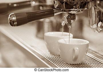 máquina, espresso, café, brewing