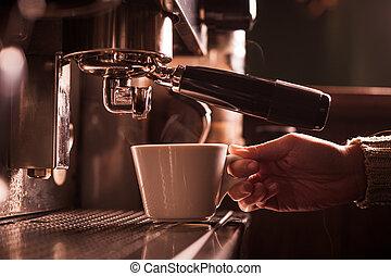 máquina, espresso, elaboración