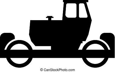 máquina, estrada asfalto, rolo