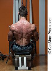 máquina, exercícios, costas, sentada, fila