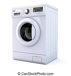 máquina, experiência., branca, lavando, isolado