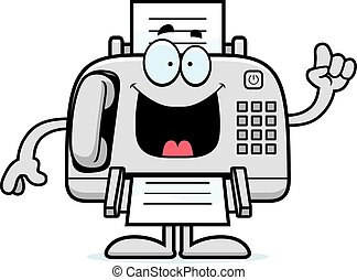 máquina, fax, caricatura, idea