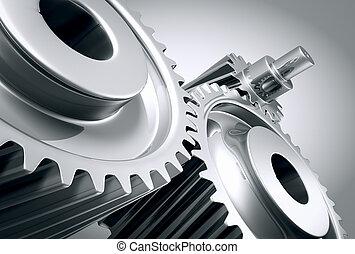 máquina, fim, gears., cima