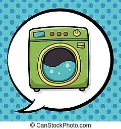máquina, garabato, lavado