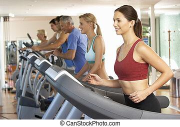 máquina, ginásio, corrida mulher