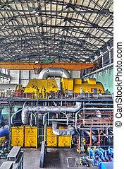 máquina, habitación, en, termal, central eléctrica