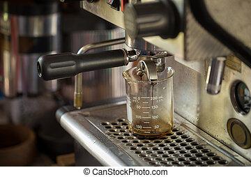 máquina, hacer café, encima de cierre