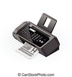 máquina, illust, isométrico, vector, fax