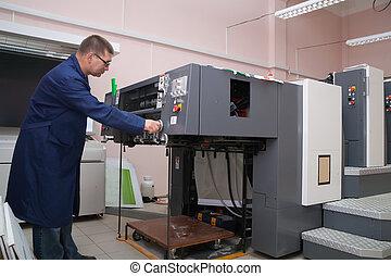 máquina, impressora, trabalhando, offset