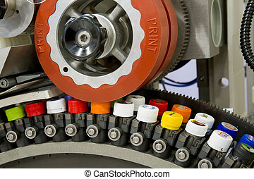 máquina, imprimindo, almofada