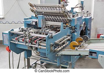 máquina, imprimindo, closeup