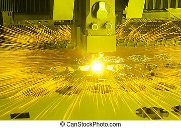 máquina, industrial, corte, laser