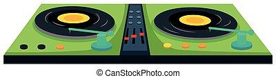 máquina, jinete del disco, sonido, control