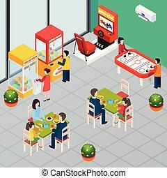 máquina, jogo, isometric, ilustração
