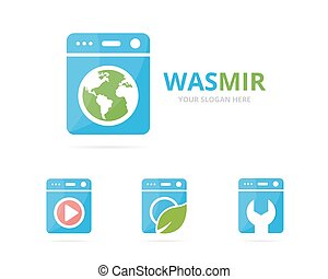 máquina, jogo, lavando, combination., símbolo, lavanderia, logotype, ou, planeta, desenho, icon., logotipo, terra, arruela, original, template.