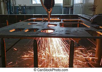 máquina, laser, cortador