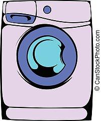 máquina, lavado, caricatura, icono