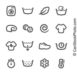 máquina, lavado, iconos