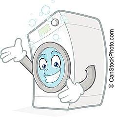 máquina, lavado, presentación