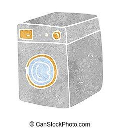 máquina, lavado, retro, caricatura