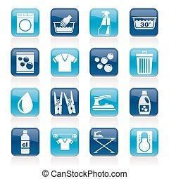 máquina, lavanderia, lavando, ícones