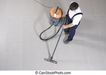 máquina, limpeza, chão