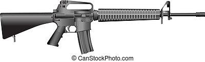 máquina, m16, arma de fuego, a2.