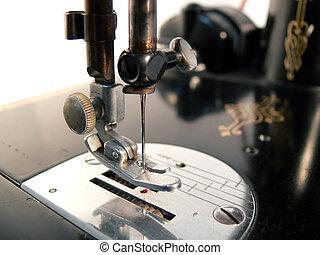máquina, macro, costura