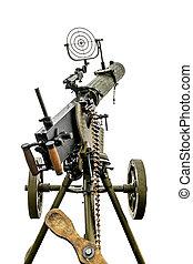 máquina, militar, a bordo de, máxima, arma de fuego