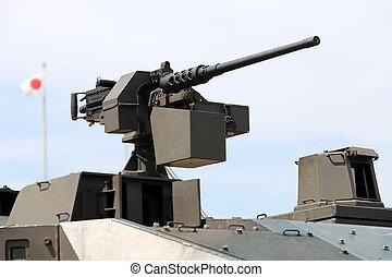 máquina, militar, montado, arma, veículo